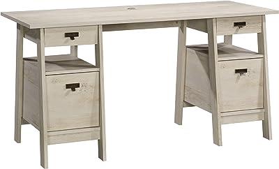 Sauder Trestle Executive Trestle Desk, Chalked Chestnut finish