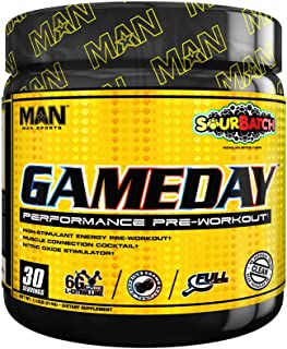 Man Sports Game Day Pre-Workout Stimulant - Healthy Pre Workout Supplement - Pre Workout with No Jitters - Taurine - Creatine HCL - Big Scoops for Better Workouts - 510 Grams, 30 Servings - Sour Batch