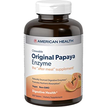 American Health Original Papaya Enzyme Chewable Tablets - Promotes Nutrient Absorption and Helps Digestion - 600 Count (200 Total Servings)