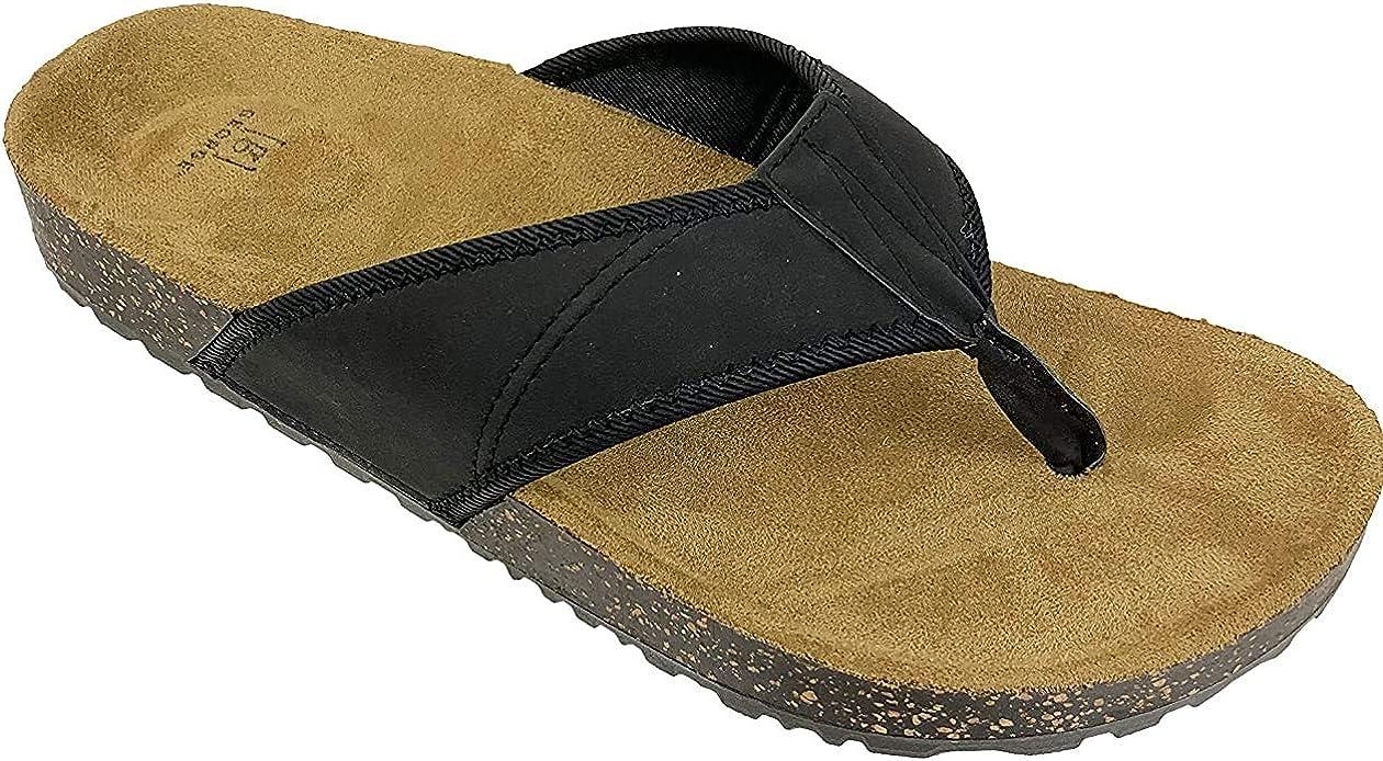 Georges Men's Faux Leather Flip Flop Sandal (Brown or Black) Sizes 7-13