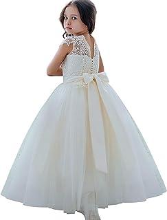 3c1174e36 Vestidos para niñas de Flores Vestidos de Encaje para niña Vestidos Blancos  de Dama de Honor