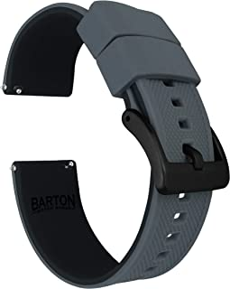 Elite Silicone Watch Straps - Black Buckle Quick Release - Choose Color & Width - 18mm, 19mm, 20mm, 21mm, 22mm, 23mm & 24mm - Textured Rubber Watch Straps