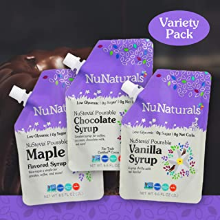 NuNaturals Variety Pack Flavored Sugar-Free Pourable Syrup, 0 Net Carbs (1 Maple, 1 Vanilla, 1 Chocolate - Variety Pack, 6.6 oz)