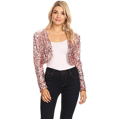 Anna-Kaci Womens Shiny Sequin Long Sleeve Cropped Blazer Bolero Shrug 5fa77869e