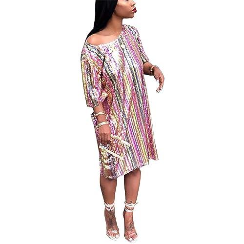 e584ad3d7cf1 Women's Sparkle Glam Rainbow Striped Sequins Short Sleeve Dress Party