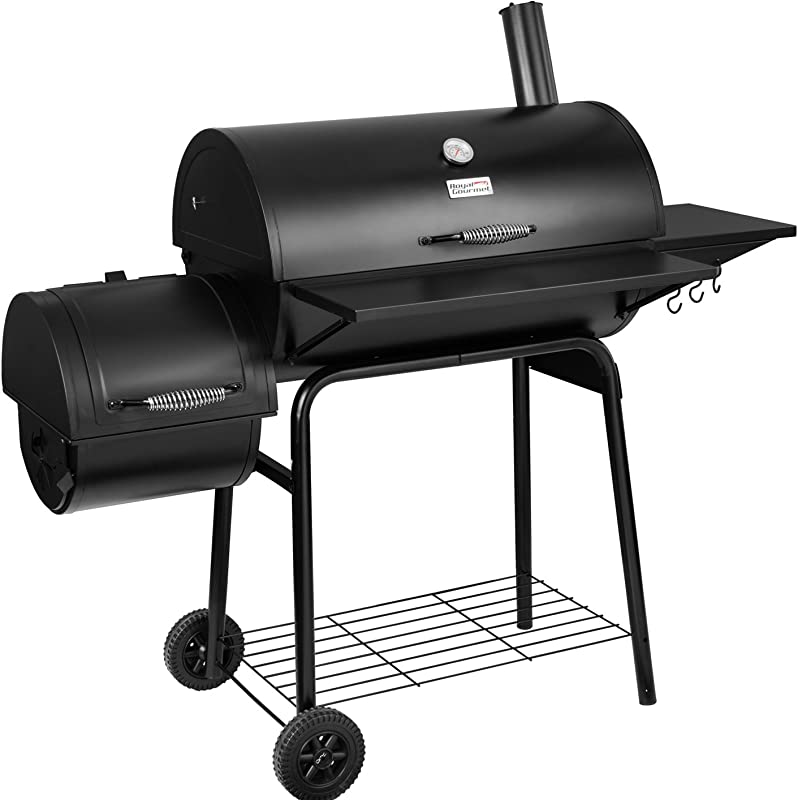 Royal Gourmet BBQ Charcoal Grill And Offset Smoker 30 L 800 Square Inch Outdoor For Camping Black
