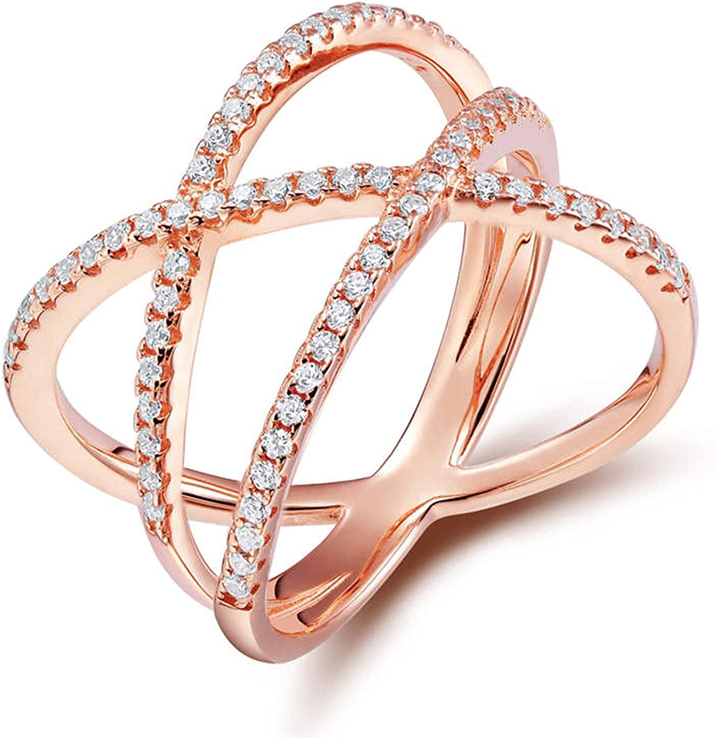 Silver Cheap sale Rose 5 popular Gold Cross Cubic Zirconia 925 Women Si Ring Sterling