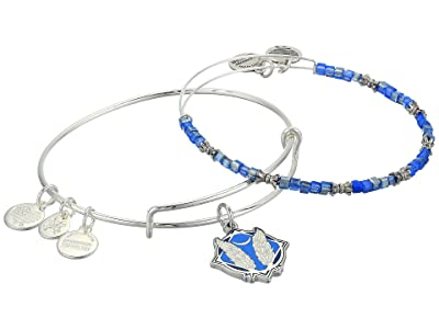 Alex and Ani Color Infusion Godspeed Set of 2 Bangle (Shiny Silver) Bracelet