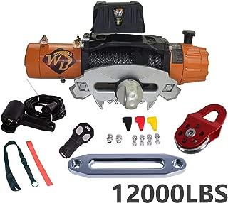 ZR Universal 12000LB 12V 158/1 Gear Ratio Nylon Rope Electric Recovery Winch Wireless Remote Control Al Block IP67 waterproof for Pickup Truck 4WD JEEP SUV Van Train Boat Trailer