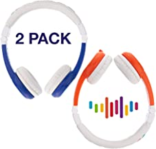 BuddyPhones Explore Foldable, Kids Volume Limiting Headphones, Built-in Audio Sharing Cable and in-Line Mic, Compatible with Fire, iPad, iPhone, and Android Devices, 2-Pack Blue and Orange