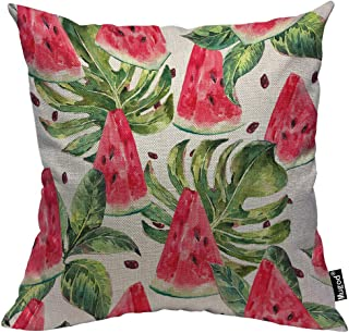 Mugod Slices of Watermelon Throw Pillow Exotic Tropical Fruit Leaves Seed Red Green Cotton Linen Square Cushion Cover Standard Pillowcase 18x18 Inch for Home Decorative Bedroom/Living Room/Car