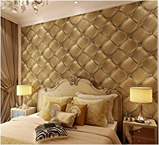 7Buy 21 Inch By 394 Inch Faux Leather 3D Pattern Pvc Waterproof Wallpaper Wall Decor Wall Murals for Restaurant,Kitchen (light golden)