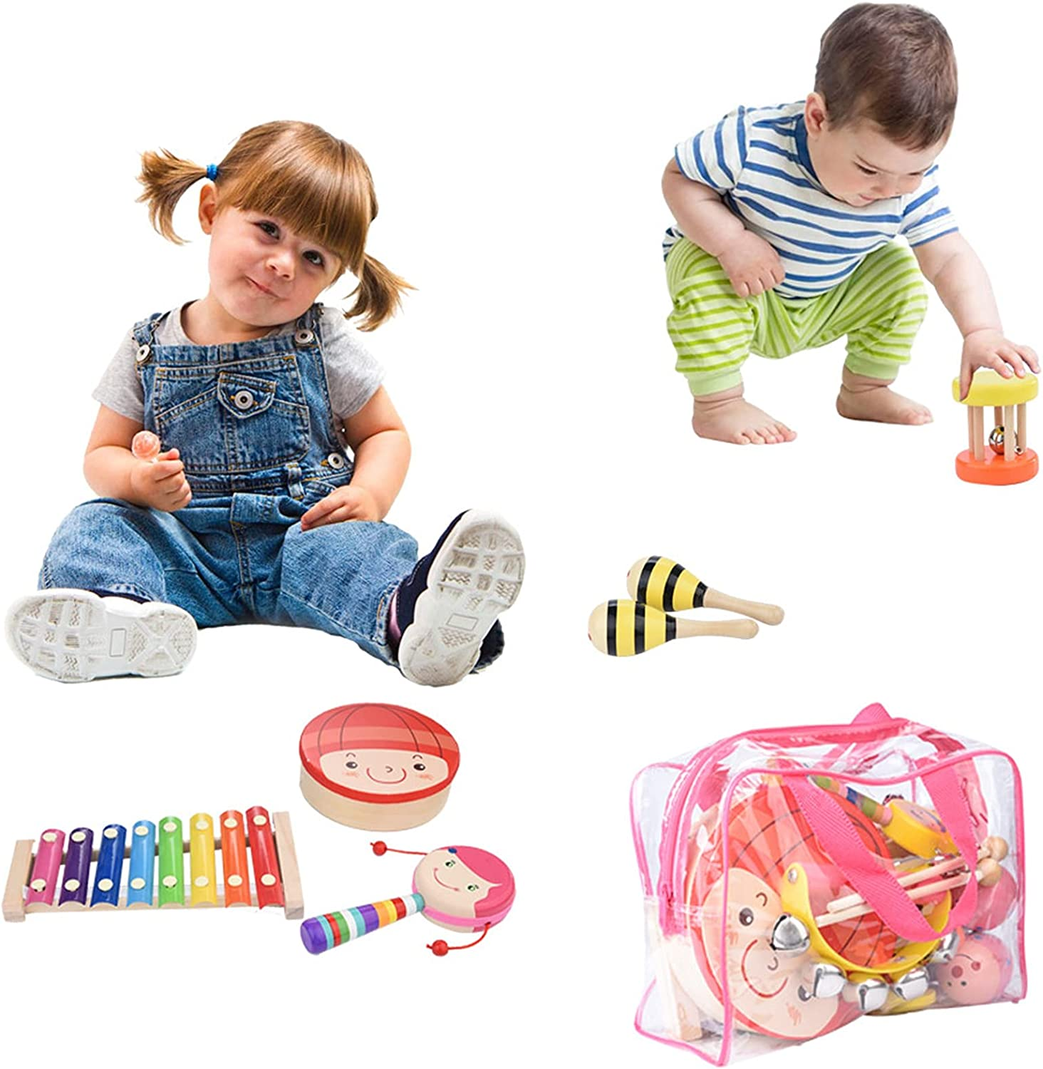 AMZFDC Kids Musical Instruments 12 Percussion Types A surprise OFFicial price is realized Pcs Wooden