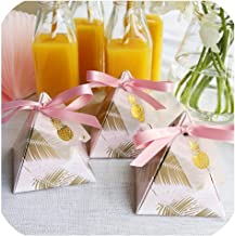 Pineapple Leaves Triangular Pyramid Wedding Favors And Gift Box With Thanks Card Candy Boxes Gift Packaging Bag Party Decoration,72X72X80Mm,25 Pcs