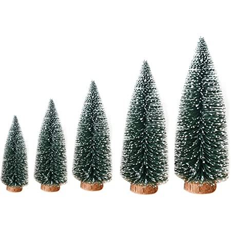 5Pcs Artificial Tabletop Mini Christmas Pine Trees with Wood Base Xmas Decor