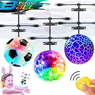 Camlinbo 3 Pack Flying Ball Toys for Kids RC Flying Toys Hand Operated Rechargeable Infrared Induction Helicopter Light Up Toys with Remote Controller for Indoor Outdoor Sports Games Birthday Gifts
