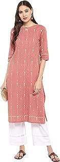 Janasya Women's Pink Pure Cotton Kurta With Palazzo