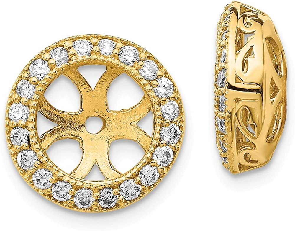 Solid 14k Yellow Gold Diamond Earring Jacket Mountings 13mm