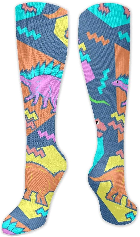 NiYoung Unisex Comfortable Athletic Socks Casual Socks Art Socks Printed Cute Patterned Crew Socks for Running, Athletic Sports, Flight Travel, 90s Funny Dinosaur