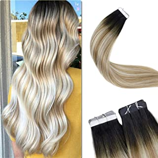LaaVoo Tape in Human Hair Extension 18 Inch Glam Seamless Glue in Hair Rooted Off Black to Golden Brown to Platinum Blonde 20Piece 50g Straight Smooth Skin Weft Tape on Human Hair
