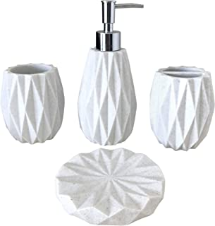 Kralix Bathroom Accessories Set,4-Piece Modern Resin White Bath Accessory with Soap Dispenser, Toothbrush Holder,Tumbler, Soap Dish