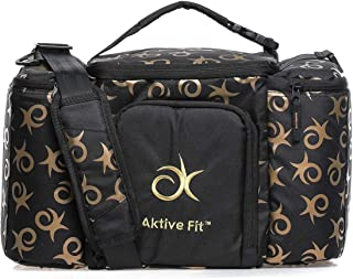 AktiveFit Unisex Monogram Multi Compartment Insulated Lunch Bag, Black/Gold - BAG3255