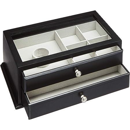 Amazon Basics Boîte à bijoux et montres en bois, dessus en verre, 2 tiroirs, noire