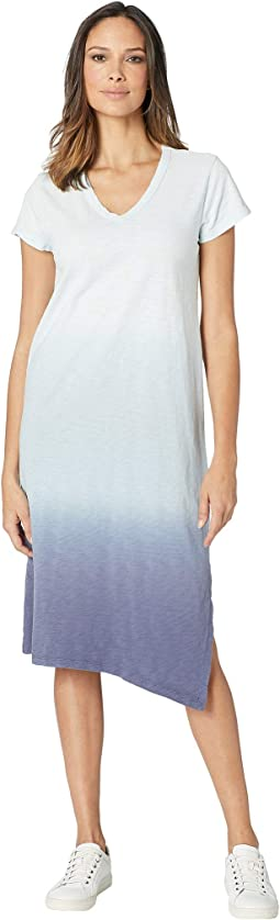 Luxe Cotton Slub Short Sleeve V-Neck Dress with Dip-Dye