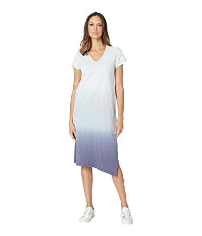 Dylan by True Grit Luxe Cotton Slub Short Sleeve V-Neck Dress with Dip-Dye (Pool/Denim/Navy) Women