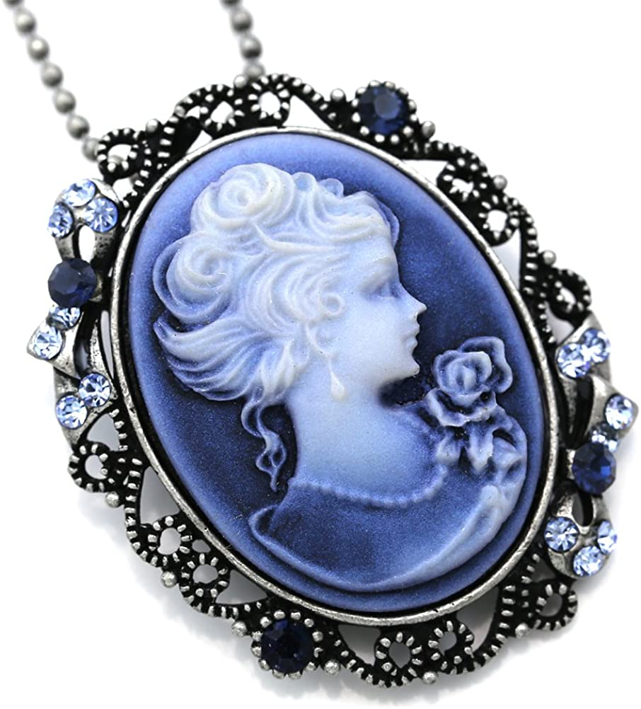 Soulbreezecollection Light Blue Cameo Pendant Necklace Charm Fashion Jewelry Gift for Women