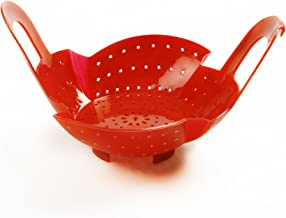 Norpro Silicone Steamer Basket with Locking Handle, 8.75 by 8.5 by 3.5-Inch, Red
