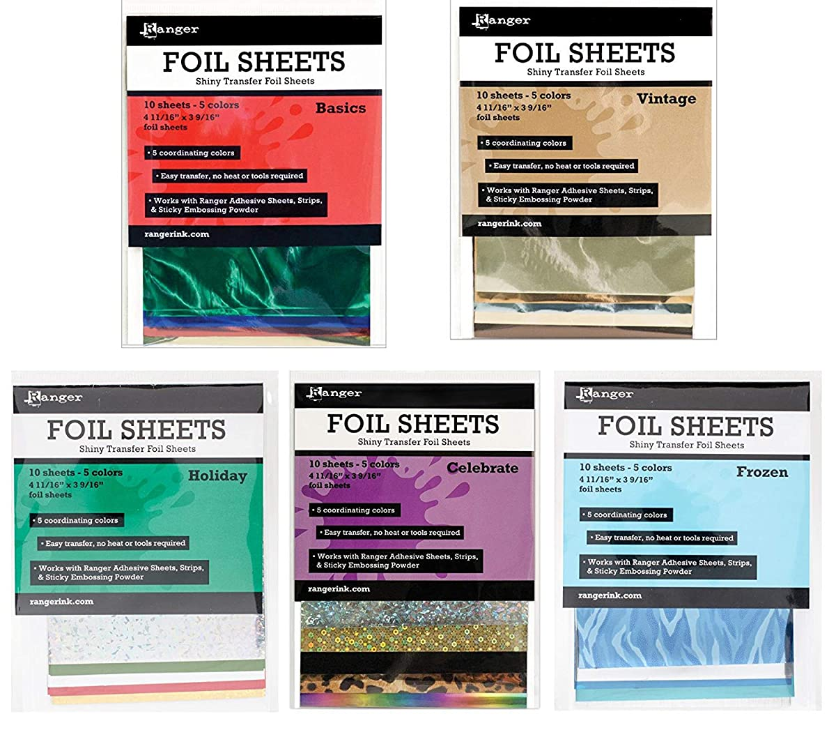 Ranger Decorative Foil Transfer Sheets - Mini Flat Multi-Bundle - A total of fifty 4.69-inch x 3.56-inch sheets in a variety of colors
