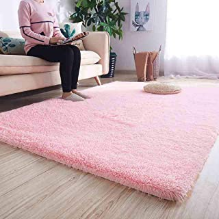 Noahas Ultra Soft Shaggy Area Rugs Fluffy Living Room Carpet Bedroom Fur Rug Anti-Skid Child Playing Mat Home Decor, 5.3 x 7.5 Feets Pink