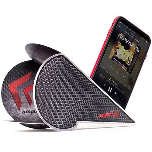 Amplilib Mini Enceinte Portable, Amplificateur de son sans fil et pliable, support téléphone universel - Compatible iPhone, Samsung et autres marques - Idée Cadeau - Carbon Noir