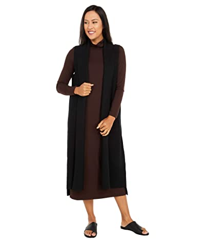 Eileen Fisher Long Shawl Collar Vest (Black) Women