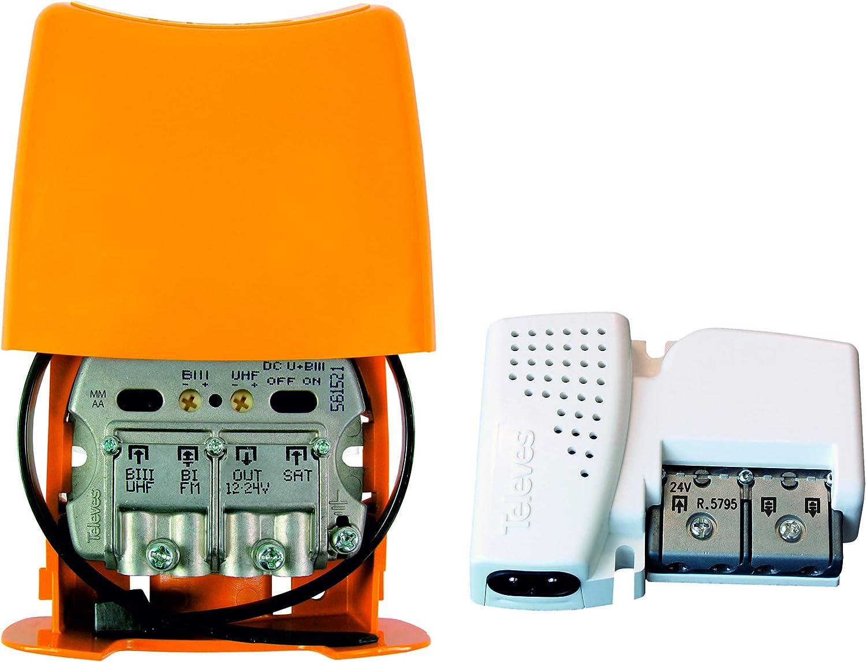 Kit Amplificador TELEVES 28 dB + Fuente de alimentación 24V 2 Salidas. Segundo dividendo Digital 5G. No Compatible con parabólica