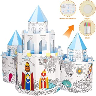 Youwo Fairy Castle DIY Cardboard Playhouse Cardboard Creations Coloring Kit with 6 Fingertip Dolls and 5 Markers.