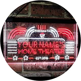 Personalized Your Name Custom Home Theater Established Year Dual Color LED Neon Sign White & Red 400 x 300 mm st6s43-ph1-t...