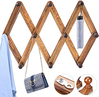 BUZIFU Coat Rack Shelf Expandable Accordion Wooden Clothes Hat Hanger Wall Mounted Coat Rack with 10 Peg Hooks Folding Wooden Hook Rack for Hallway Bathroom Living Room Kitchen, Rustic Walnut Color