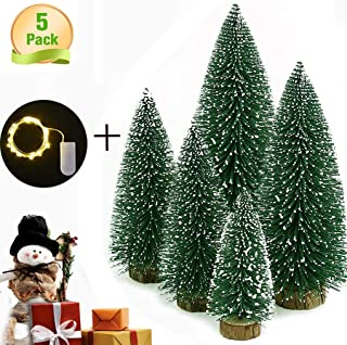 VOSTOR Desktop Miniature Pine Tree 5 Pcs LED Christmas Trees with Wood Base Table top 12'' Mini Sisal Trees with 1 Pcs 3.3ft LED Light Snow Frosted Trees Ideal for Christmas DIY Craft Party Decor