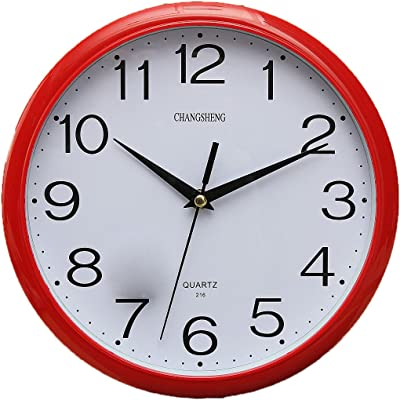 Shuangklei Large Vintage Round Modern Home Bedroom Retro Time Kitchen Wall Clock Quartz,Red