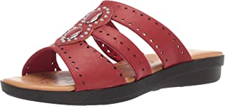 Easy Street Women's Vara Sandal Jewels and enameled Ornaments. Slide, Red 6 N US