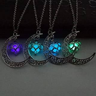 Fineder 4 Colors Luminous Series Moon Love Heart Pendant Necklace Fluorescent Necklace, Glow in The Dark Necklace