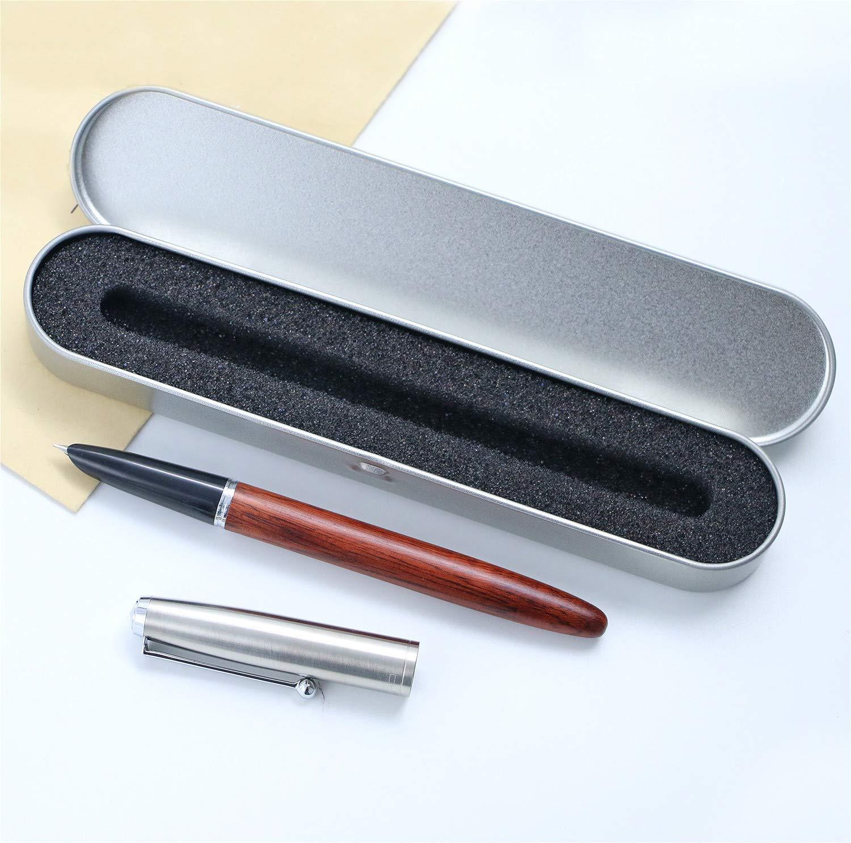 JinHao 51A Pluma estilográfica madera roja 0,38 mm Extra Fine Nib, para escribir caligrafía, suministros escolares de oficina con Estuche de bolígrafo de regalo: Amazon.es: Oficina y papelería