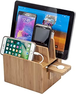 Bamboo Charging Station with Compatible Apple Watch Charger Adapter Plus Apple Approved MFI Cable