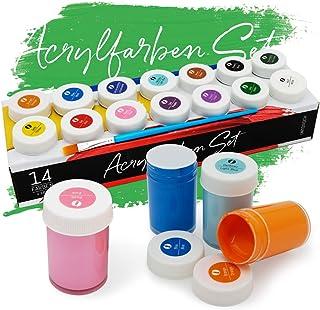 holzfarbe int!rend Acryl Farben Set Künstlerfarben mit Pinsel 14 Acrylfarben x 18 ml für Kinder & Erwachsene, wasserfest für Leinwand, Holz, Ton, Papier