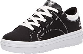 Skechers Womens Street Cleat. Canvas Contrast Stitch Lace Up Sneaker