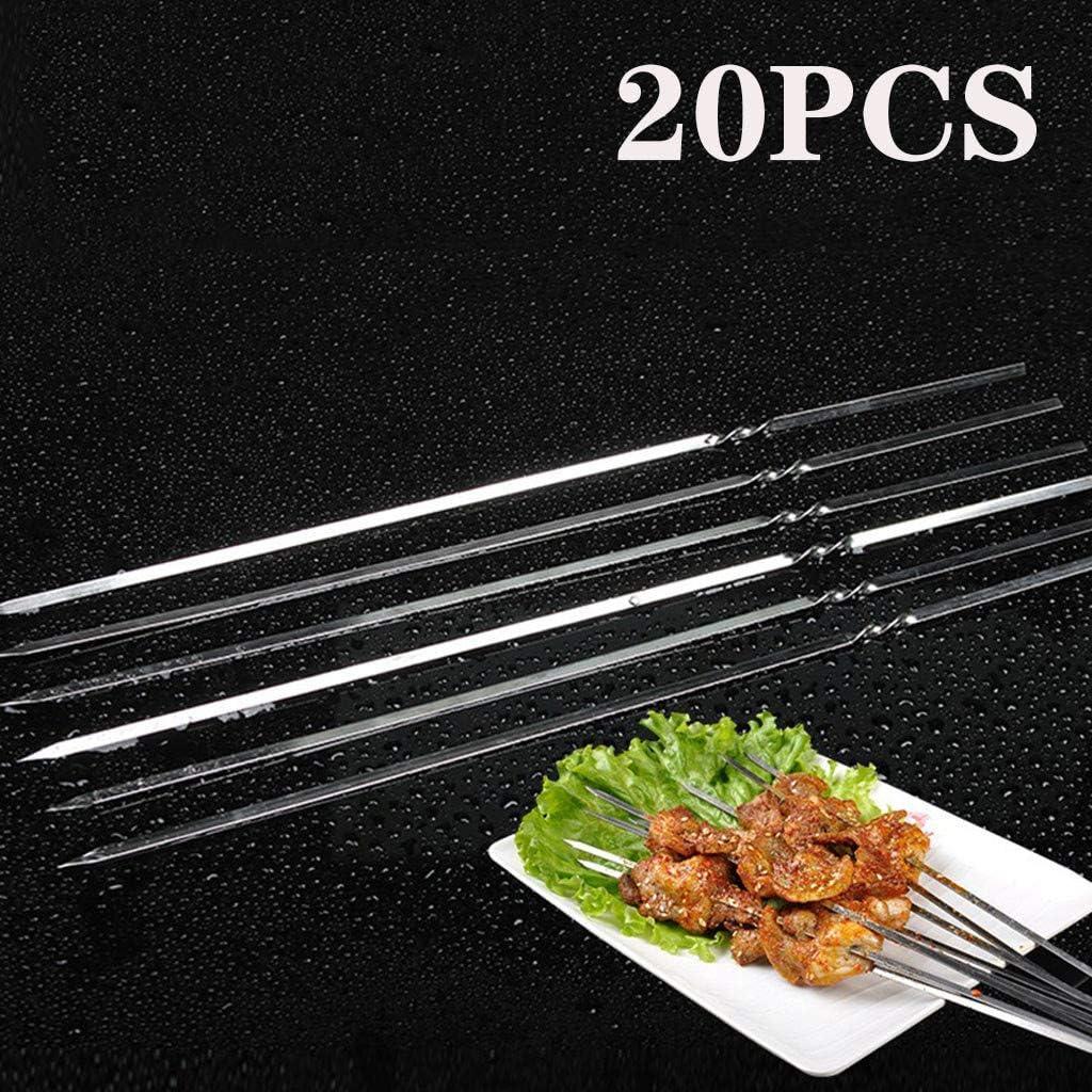 Masrin 20 pièces métal Kebab Barbecue Aiguille Réutilisable Broche à barbecue argenté argenté