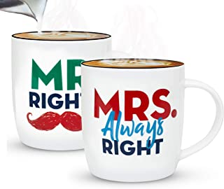 Gifffted Mr Right and Mrs Always Right Coffee Mugs Set, Anniversary Gifts For Couple, Engagement Gift For Her, Unique Christmas Gift For New Couple, Parents and Friends, Funny Gifts For The Bride V1