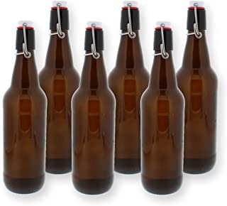 Swing Top Bottles w/Caps - 16.9oz, Amber Glass, Reusable for Homebrew - 6 pack